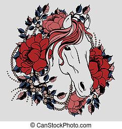 Cabeza de caballo con flores