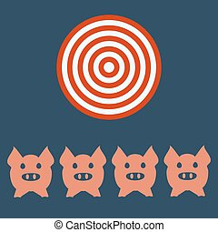 Cabeza de cerdo o cara de icono. Agricultura y agricultura, concepto de lona.
