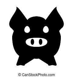 Cabeza de cerdo o cara de icono. El concepto de agricultura y agricultura.