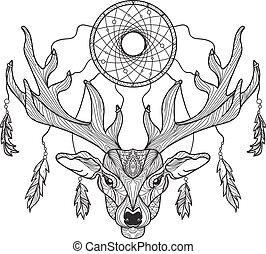 Cabeza de ciervo con cuernos y atrapasueños