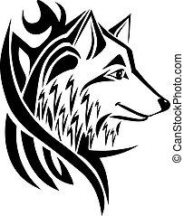 Cabeza de lobo de diseño de tatuajes, grabado antiguo.