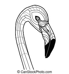 Cabeza de pájaro flamenco vector de tatuaje ilustración aislada en el diseño de bocetos para camisetas