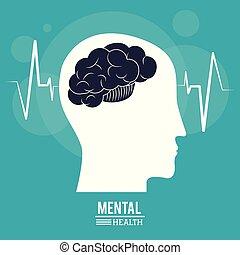 Cabeza de perfil humano, diseño de salud mental