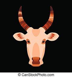 Cabeza de vaca. Ilustración de vectores. Antecedentes negros.
