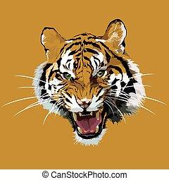 Cabeza de vector de un tigre.