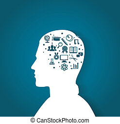 cabeza, educación, hombre, iconos