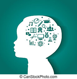 cabeza, educación, niño, iconos