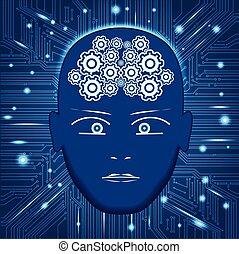 Cabeza, engranajes en forma de cerebro, circuito de fondo