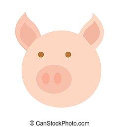 cabeza, estilo, caricatura, plano, cerdo, icono, animal, agricultura, granja