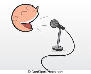 Cabeza flotante con micrófono