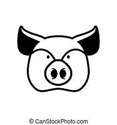 cabeza, granja, signo., símbolo., cerdo, hocico, cerdito, animal