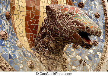 cabeza, guell, antoni, parque, barcelona, dragón, gaudi, diseñado, españa