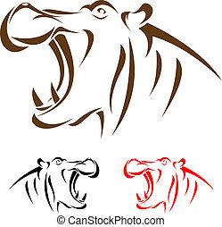 cabeza, hipopótamo, vector