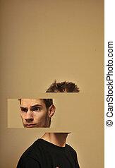 cabeza, hombre, dividido, joven