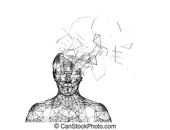 Cabeza humana destrozada aislada en blanco. Inteligencia artificial en concepto de tecnología futurista, ilustración 3D