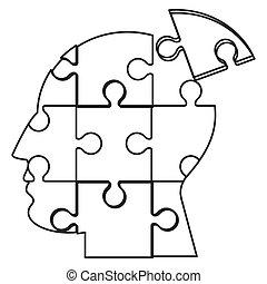 Cabeza humana en icono de piezas de rompecabezas