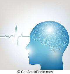 Cabeza humana y cerebro uno