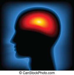 cabeza, imagen, /, termal, vector, radiografía