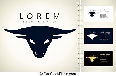 cabeza, logotipo, toro, vector, diseño