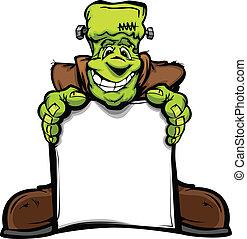 cabeza, monstruo, imagen, halloween, señal, vector, tenencia, frankenstein, caricatura, feliz