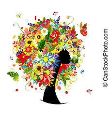 cabeza, mujer, hoja, peinado, cuatro estaciones, flores, diseño