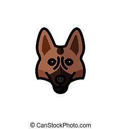 cabeza, pastor alemán, carácter, mascota, perro, mascota, casta