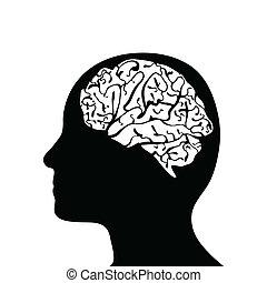 cabeza, silhouetted, cerebro