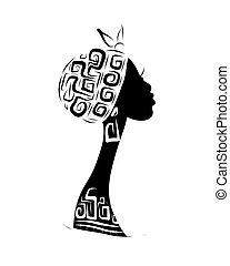 cabeza, silueta, ornamento, diseño, hembra, étnico, su