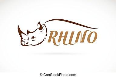 cabeza, texto, imagen, rinoceronte, vector, plano de fondo, blanco