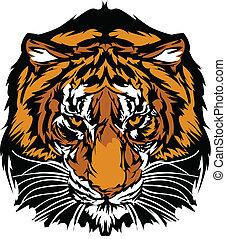 cabeza, tigre, mascota, gráfico