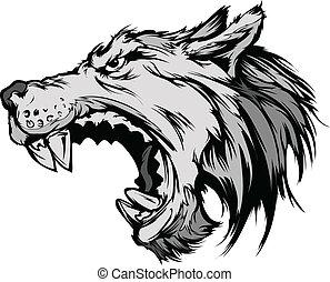 cabeza, vector, lobo, caricatura, mascota