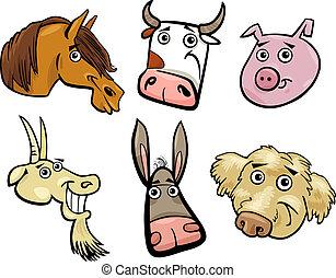 Cabezas de animales de granja