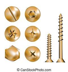 Cabezas de tornillo de oro