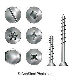 Cabezas de tornillo de plata