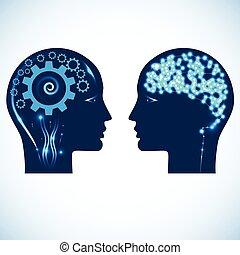 cabezas, engranaje, gente, dos, brillado, cerebro, ruedas