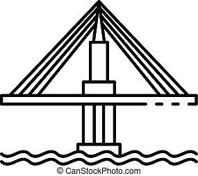 Cable icono de puente, estilo de esquema