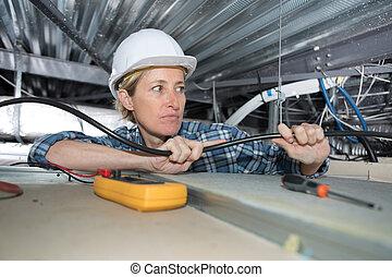Cableado eléctrico femenino dentro del techo