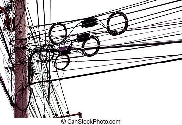 Cables eléctricos desordenados aislados en fondo blanco