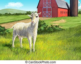 Cabra y granja