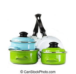 cacerola, ollas, cookware, metal, conjunto
