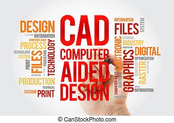 CAD - computadora ayudó a diseñar la palabra nube