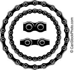Cadena de bicicletas vectores sin siluetas