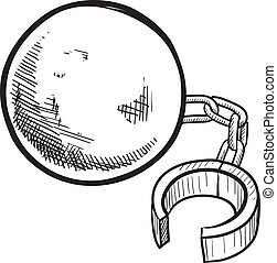 cadena, pelota, bosquejo