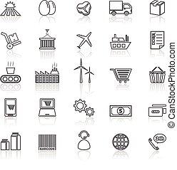 cadena, suministro, iconos, reflejar, línea, blanco