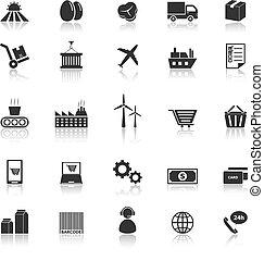 cadena, suministro, iconos, reflejar, plano de fondo, blanco