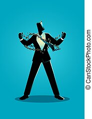 cadenas, ilustración, hombre de negocios, rotura