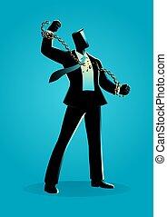 cadenas, ilustración, rotura, hombre de negocios