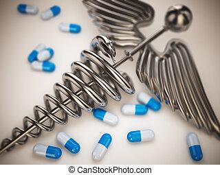 caduceo, píldoras, símbolo., farmacia