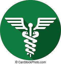 Caduceus símbolo médico icono plano