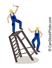 caer, accidente, o, lugar de trabajo, trabajador construcción, ladder., seguridad, concept.